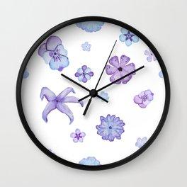 Purple Watercolor Floral Pattern Wall Clock