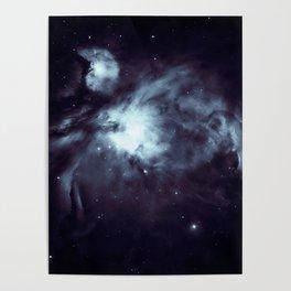 Orion Nebula Midnight Steel Blue Poster