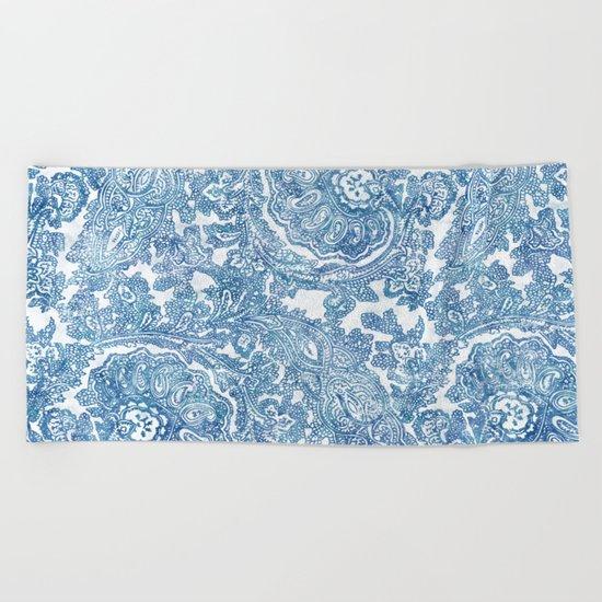 Blue Boho Paisley Pattern II Beach Towel
