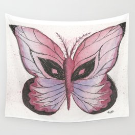Ink and Watercolor Butterfly in rose colored tones Wall Tapestry