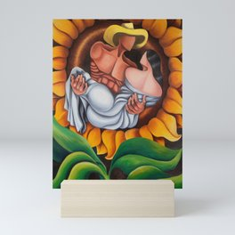 Lovers in sunflower. Miguez Art Mini Art Print