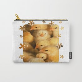 Clutch of Yellow Fluffy Chicks With Decorative Border Carry-All Pouch