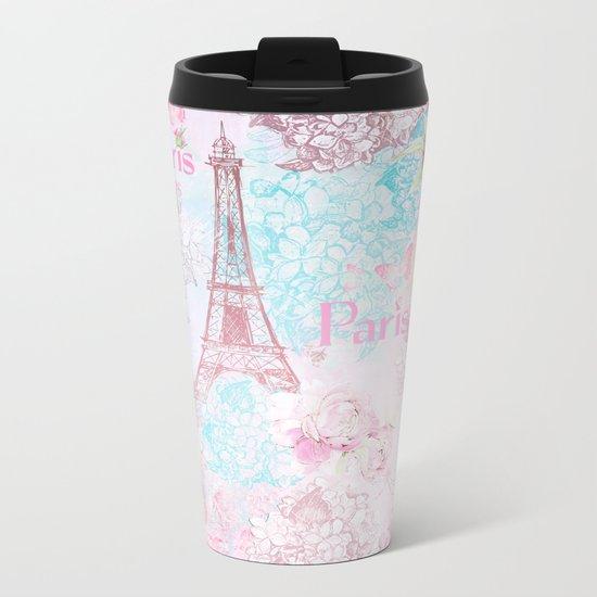I love Paris- Vintage Shabby Chic in pink - Eiffeltower France Flowers Floral Metal Travel Mug