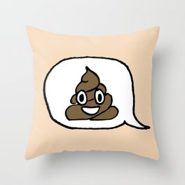 Hand-drawn Emoji - Smiling Pile of Poo Throw Pillow