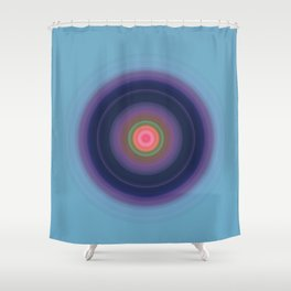 Powder Blue with Purple Sphere Abstract Shower Curtain