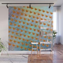 Orange butterflies flying in formation Wall Mural