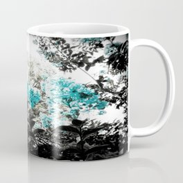 Turquoise & Gray Flowers Coffee Mug