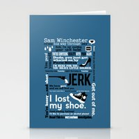 sam winchester Stationery Cards featuring Supernatural - Sam Winchester Quotes by natabraska