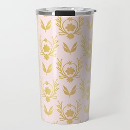 Luxe Rose Gold Foil Floral Lattice Seamless Vector Pattern, Drawn Damask Travel Mug