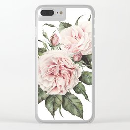 Pink Garden Roses Watercolor Clear iPhone Case