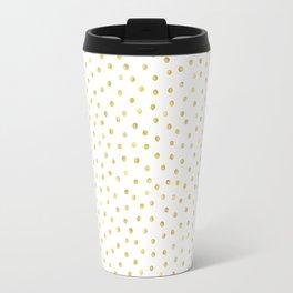 Medium Gold Watercolor Polka Dot Pattern Travel Mug
