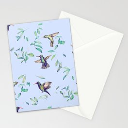 hummingbirds on celestial sky and leaves Stationery Cards