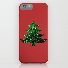Sparkly Christmas tree green sparkles on red iPhone Case
