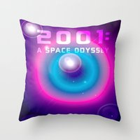 2001 a space odyssey Throw Pillows featuring 2001 a Space Odyssey by Scar Design