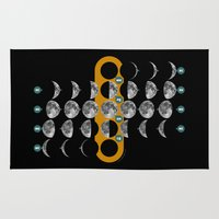 moon phases Area & Throw Rugs featuring The Moon phases by tuditees