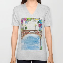 The Neighborhood. Original Artwork Painting Sketch. Bridge and Cityscape. Abstract Architecture Unisex V-Neck