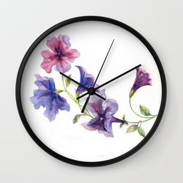 Watercolor branch of petunia. Wall Clock