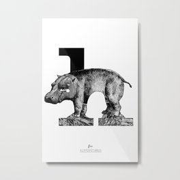 letter h for hippo Metal Print