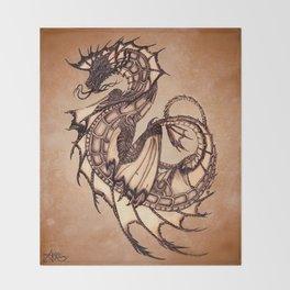 """Tsunami"" by Amber Marine ~ Sea Dragon (Amber Gem Version) ~ Graphite Illustration, (Copyright 2005) Throw Blanket"