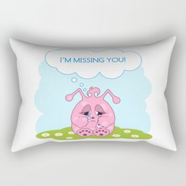 Cute pink monster is missing you Rectangular Pillow