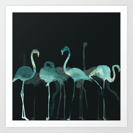 Cold Flamingos in the Night Art Print