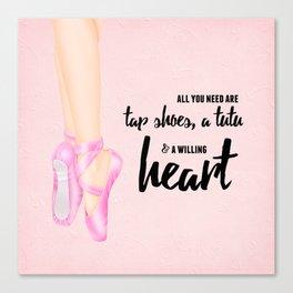 Tap shoes, tutu & heart Canvas Print