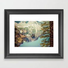 Water - Phantom Ship Island Crater Lake Oregon Framed Art Print