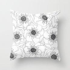 White Anemones Throw Pillow