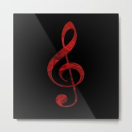 Music Key in Red Metal Print