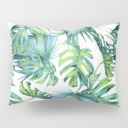 Blue Jungle Leaves, Monstera, Palm #society6 Pillow Sham