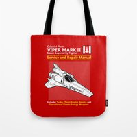 battlestar Tote Bags featuring Viper Mark II Service and Repair Manual by adho1982