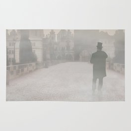 Prague in the morning fog Rug