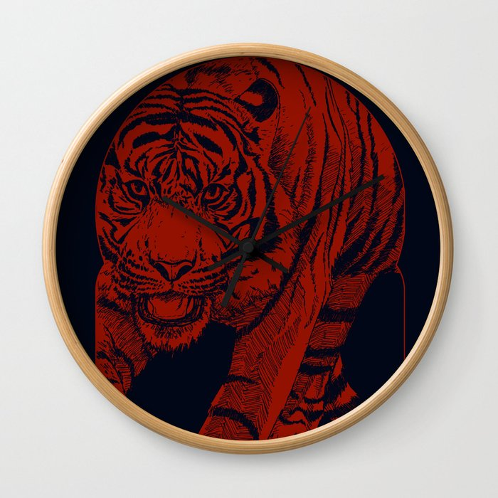 Red Tiger Wall Clock