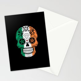 Sugar Skull with Roses and Flag of Ireland Stationery Cards