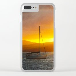 Norman Island Sunset - Sailboats at Sunset Clear iPhone Case