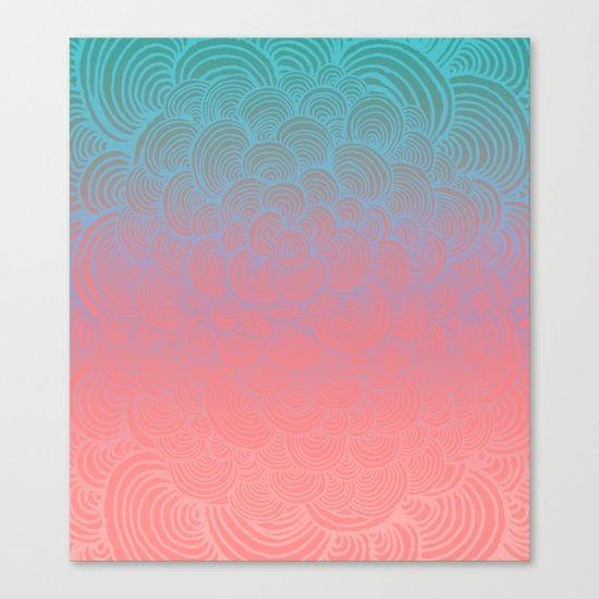 Ombre Clam Shells - Mint, Peach, Purple and Pink Canvas Print