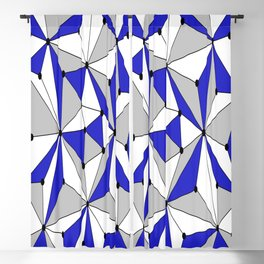 Abstract geometric pattern - blue, gray and white. Blackout Curtain