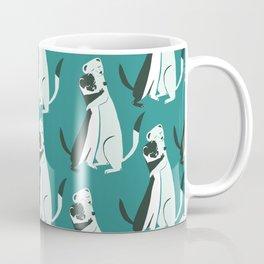Weasel hugs Pattern in  Teal Coffee Mug