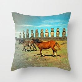 EASTER ISLAND SCENE Throw Pillow