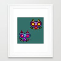 majora Framed Art Prints featuring Majora Inspired Mask by Clover