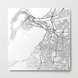Cape Town Map, South Africa - Black and White Metal Print