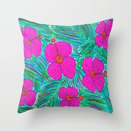 Hawaii Dreams Hibiscus Print Throw Pillow
