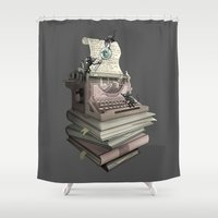 bookworm Shower Curtains featuring Bookworm by BlancaJP