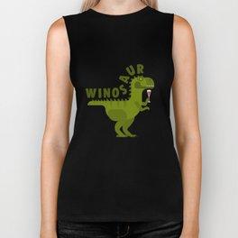 Winosaur Wine Drinking Dinosaur Biker Tank
