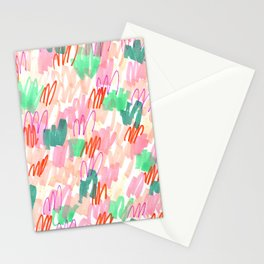 Abstract Pink Squiggle Pattern Stationery Cards