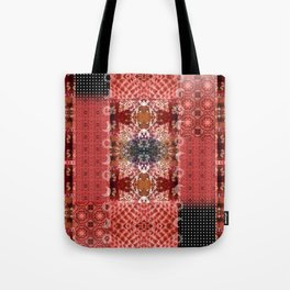 Boho Red Patchwork and Celestial Hippie Pattern Tote Bag