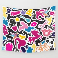 sticker Wall Tapestries featuring Sticker Frenzy by XOOXOO
