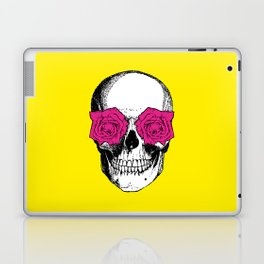 Skull and Roses | Skull and Flowers | Vintage Skull | Yellow and Pink | Laptop & iPad Skin