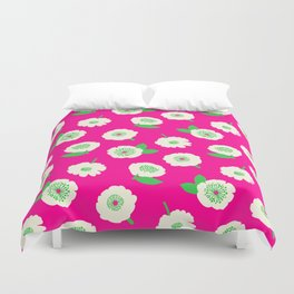 Floating Flower Pink Duvet Cover