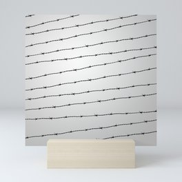 Cool gray white and black barbed wire pattern Mini Art Print